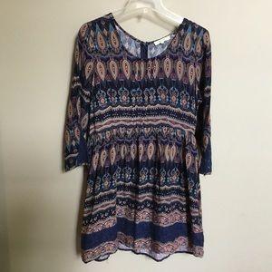 Boutique ENTRO navy brown print lace dress S